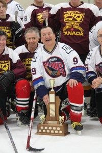 """""""Cats Eye Cardinal"""" with his winning team in Over 45 Division, 2013 Balsillie Cup"""